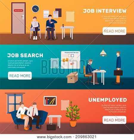Unemployed people three flat banners set with image compositions editable text title and read more button vector illustration