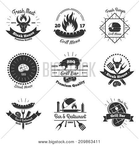 Steakhouse vintage emblems collection with flat monochrome images of kitchenware flame meat steaks and decorative elements vector illustration
