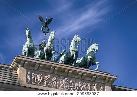 Quadriga on Top of the Brandenburger Tor (Brandenburg Gate) in Berlin Germany
