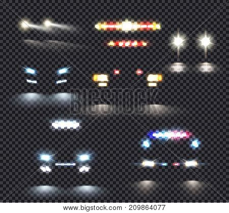 Car lights realistic transparent set of five isolated images with special vehicles silhouettes and headlamp lights vector illustration