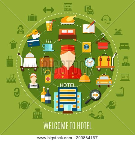Welcome to hotel round set with flat icons imaging transfer accommodation and restaurant services vector illustration