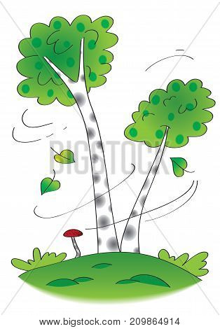 Birch trees in the wind - original hand drawn illustration of birch trees with falling leaves and mushroom underneath