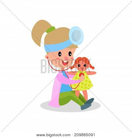 Cute girl doctor in professional clothing treating her doll, kid playing doctor vector illustration isolated on a white background