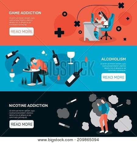 Addictions people flat banners collection with images of addicted human characters read more button and text vector illustration