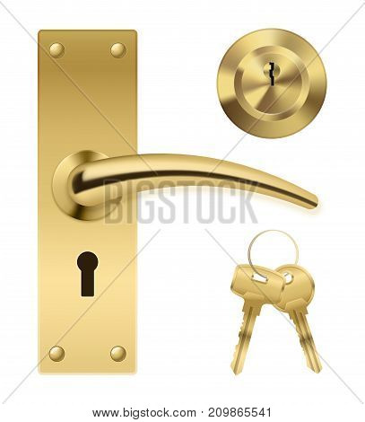 Realistic door handle lock elements set with golden metal enclosure bunch of keys and separate keyhole vector illustration