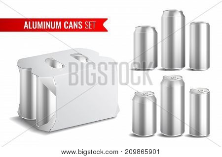 Realistic isolated aluminum cans icon set with cans used for drinking soda vector illustration
