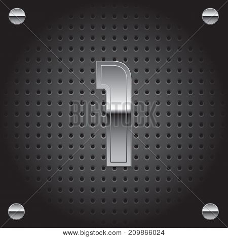 Vector set of silver metalic font on metalic perforated background - number one - 1