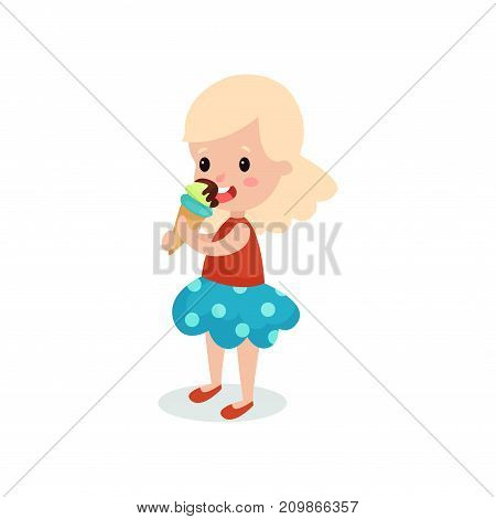 Pretty blonde girl licking ice cream cartoon vector illustration isolated on a white background