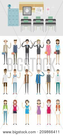 Back Class Background with Character | set of vector background and character illustration use for business, education, marketing and much more.The set can be used for several purposes like: websites, print templates, presentation templates, and promotion