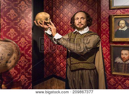 Berlin - March 2017: William Shakespeare  wax figure in Madame Tussauds museum