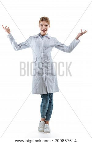 Excited Female Chemist