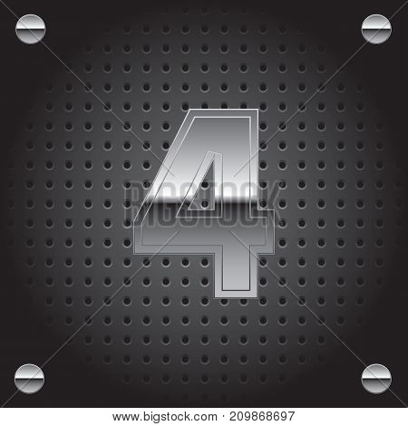 Vector set of silver metalic font on metalic perforated background - number four - 4