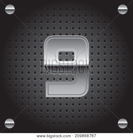 Vector set of silver metalic font on metalic perforated background - number nine - 9