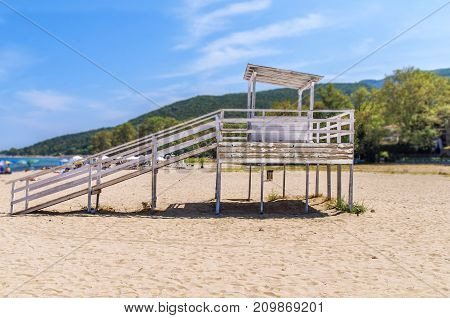 Lifeguard station on Stavros beach close up