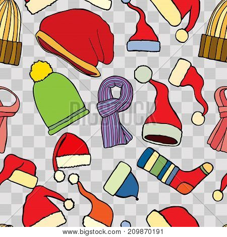 Colored Fashionable knitted accessories seamless pattern on Sketchy style.