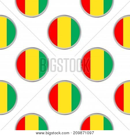 Seamless pattern from circles with the flag of Republic of Guinea. Vector illustration