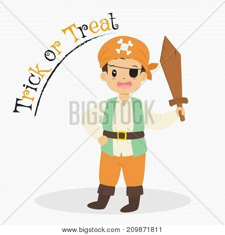 cute boy in Pirate costume holding a wooden sword. Halloween cartoon vector