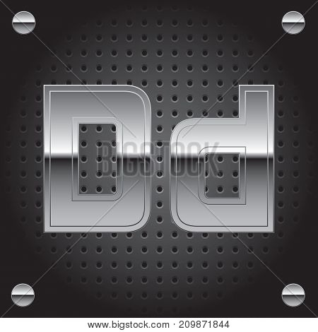 Vector set of silver metalic font on metalic perforated background - letter D
