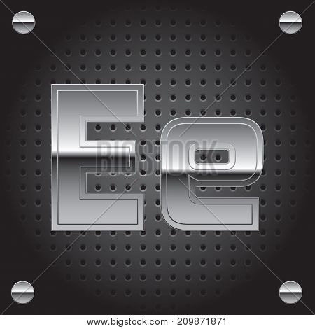 Vector set of silver metalic font on metalic perforated background - letter E