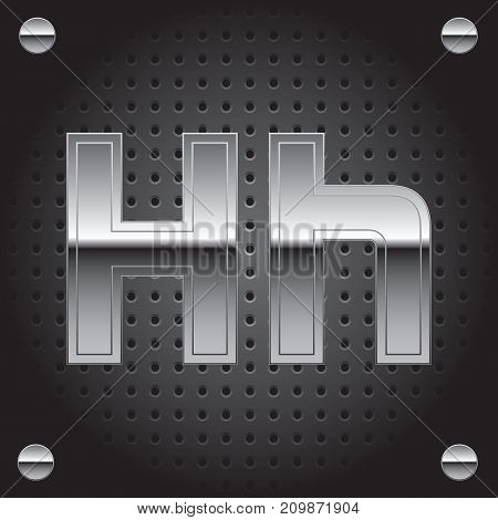 Vector set of silver metalic font on metalic perforated background - letter H