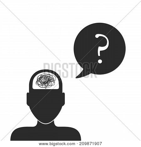Confused man in the search for a solution to the problem. Tangled. Problem and difficulty concept. Vector illustration.