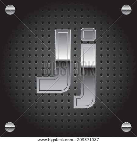 Vector set of silver metalic font on metalic perforated background - letter J