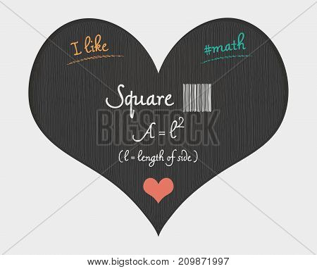 Square Area Calculation - I Like Math Illustration