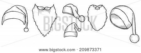 Set of Santa's hats. Sketch of christmas hat, doodle style. For new year's day, christmas. Vector large collection hand drawn illustration. Retro engraving style