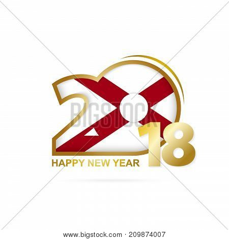 Year 2018 With Alabama Flag Pattern. Happy New Year Design.