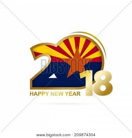 Year 2018 With Arizona Flag Pattern. Happy New Year Design.