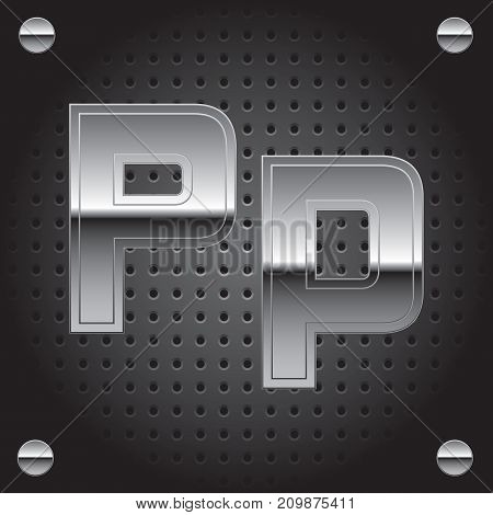 Vector set of silver metalic font on metalic perforated background - letter P