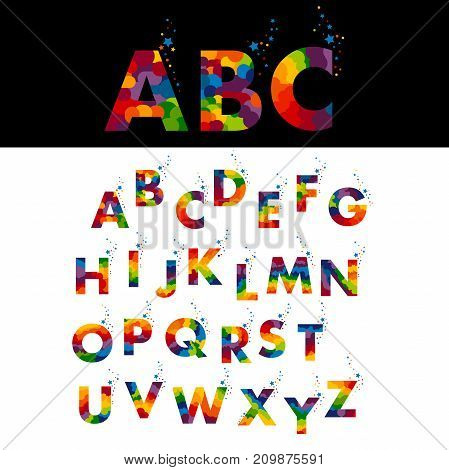 Vector of stylized colorful font and alphabet. English alphabet with splashes of stars and confetti on white background
