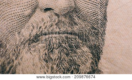 Fifty Dollars Bill Close-up. Methods Of Protecting Dollars From Counterfeiting