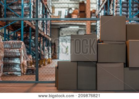 view of cardboard boxes in modern storehouse interior