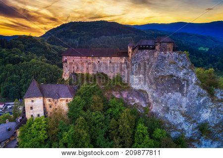 Sunset over the Orava Castle in Slovakia