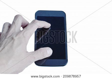 mobile phone with finger stretching in white background