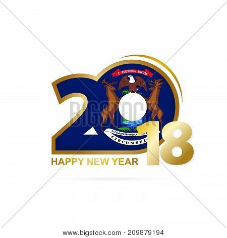 Year 2018 With Michigan Flag Pattern. Happy New Year Design.