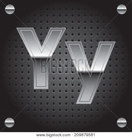 Vector set of silver metalic font on metalic perforated background - letter Y