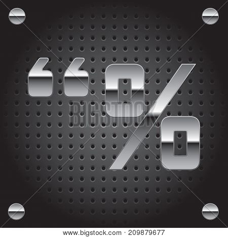 Vector set of silver metalic font on metalic perforated background - symbol set #3 (quotation marks percent)