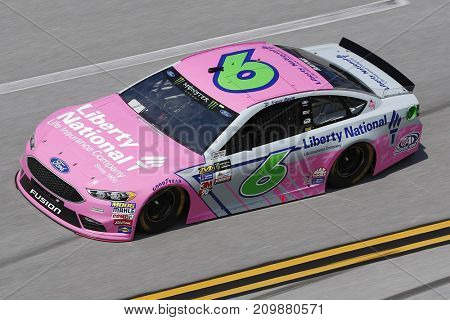 October 13, 2017 - Talladega, Alabama, USA: The car of Trevor Bayne (6) brings his car through the turns during practice for the Alabama 500 at Talladega Superspeedway in Talladega, Alabama.