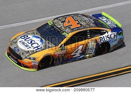 October 13, 2017 - Talladega, Alabama, USA: The car of Kevin Harvick (4) brings his car through the turns during practice for the Alabama 500 at Talladega Superspeedway in Talladega, Alabama.