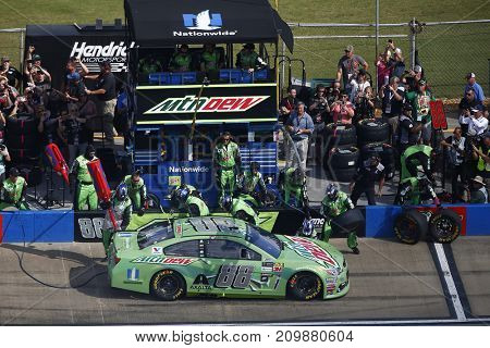 October 15, 2017 - Talladega, Alabama, USA: Dale Earnhardt Jr. (88) comes down pit road for service during the Alabama 500 at Talladega Superspeedway in Talladega, Alabama.