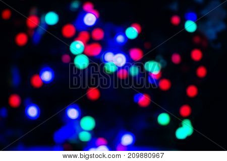 Background of New Year colored lanterns in blur