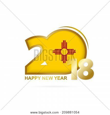 Year 2018 With New Mexico Flag Pattern. Happy New Year Design.