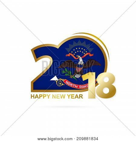 Year 2018 With North Dakota Flag Pattern. Happy New Year Design.