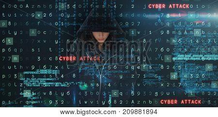 Female hacker in black hoodie against virus background