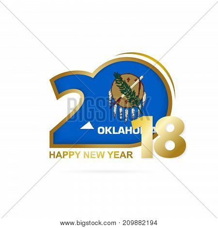 Year 2018 With Oklahoma Flag Pattern. Happy New Year Design.