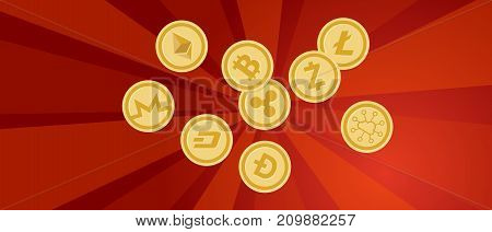 revolution red propaganda strong strike protest bit-coin golden finance banking digital cryptocurrency vector