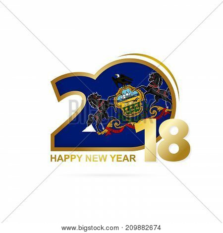 Year 2018 With Pennsylvania Flag Pattern. Happy New Year Design.
