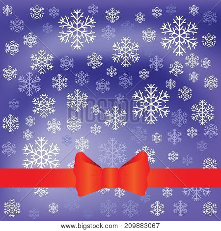 Falling winter snowflakes and red bow ribbon on blurred blue background